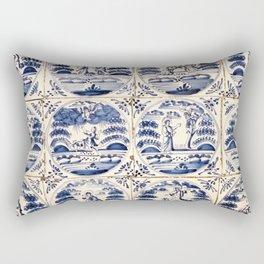 Dutch Delft Blue Tiles Rectangular Pillow