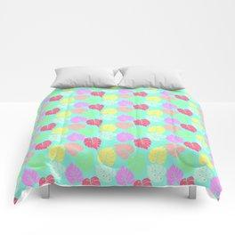 Pastel Rainbow Monstera Comforters