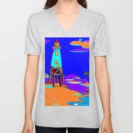 A Lighthouse on a Sandy Beach by Moonlight Unisex V-Neck
