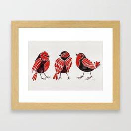 Finches – Red & Black Palette Framed Art Print