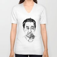 murakami V-neck T-shirts featuring Haruki Murakami by Giorgia Ruggeri