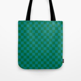 Teal Green and Cadmium Green Checkerboard Tote Bag