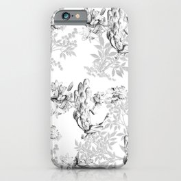 PEACOCK LILY TREE AND LEAF TOILE GRAY AND WHITE PATTERN iPhone Case