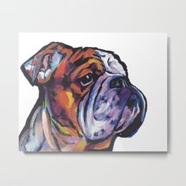 Fun English Bulldog Dog Portrait bright colorful Pop Art Painting by LEA Metal Print