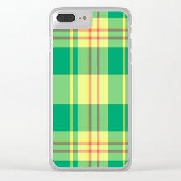 Jade Plaid Clear iPhone Case