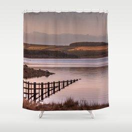 Sunset evening birds flocking over the Reservoir Shower Curtain