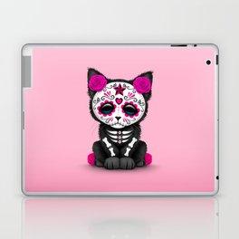 Cute Pink Day of the Dead Kitten Cat Laptop & iPad Skin