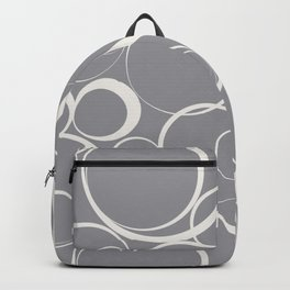 Funky Rings Pattern V5 2021 Color of the Year Ultimate Gray 17-5104 Cloud Dancer 11-4201 White Backpack