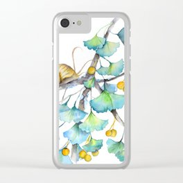 Ginkgo and A Snail Clear iPhone Case