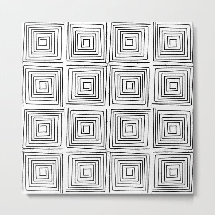 Minimal linocut printmaking geometric square maze pattern scandinavian minimalist Metal Print