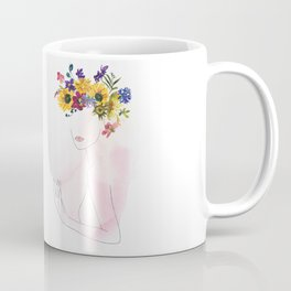Mimimal Line Art Drawing Woman With Watercolor Summer Flowers Wreath Coffee Mug