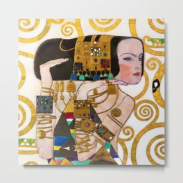 Expectations of the Heart portrait female form jewel painting by Gustav Klimt Metal Print