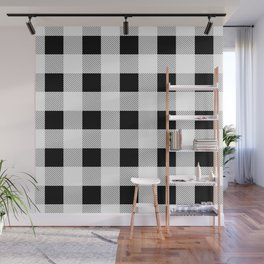 western country french farmhouse black and white plaid tartan gingham print Wall Mural