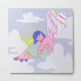 Disco Fairy Angel Groovy Retro 60s Psychedelic Art Metal Print