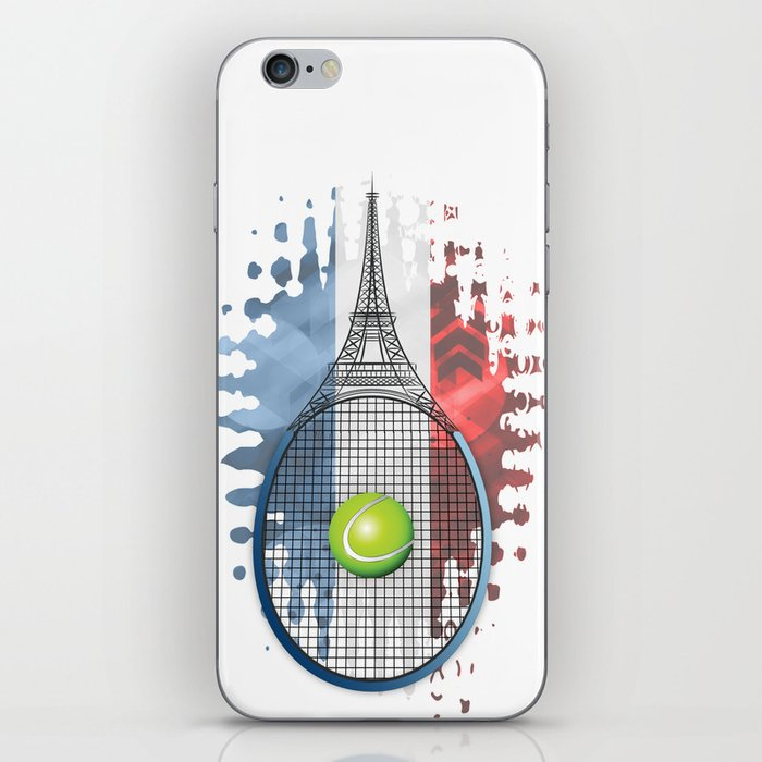 Racquet Eiffel Tower with French flag colors in background iPhone Skin
