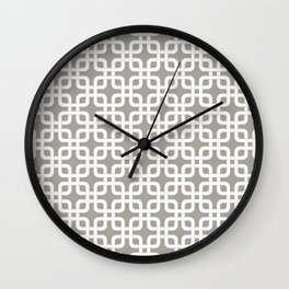 Mid-Century Modern Geometric Pattern, rounded corner squares interlocking Wall Clock