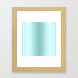 Classic Aqua Blue and White Mattress Ticking Stripes Framed Art Print
