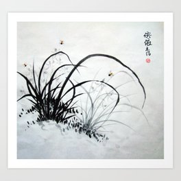 Black & White Chinese Orchids Art Print