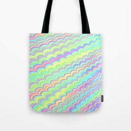 Colorful Holographic Wave Pattern Abstract Rainbow Tote Bag