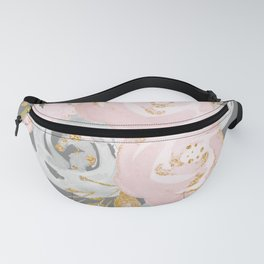 Night Rose Garden Gray Fanny Pack