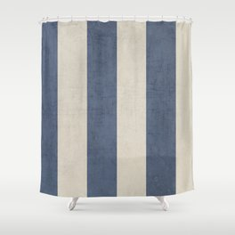 vintage dark blue stripes Shower Curtain