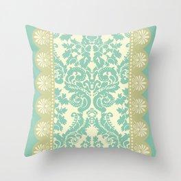 Ornamental Renaissance Border Design Acqua  Throw Pillow
