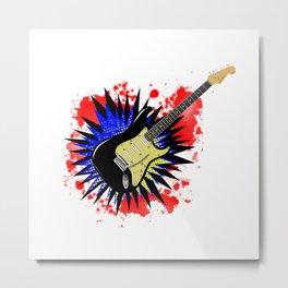 Solid Guitar Cartoon Explosion Metal Print