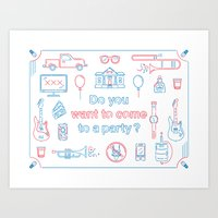 """blink 182 Art Prints featuring Blink 182 """"Do you wanna go to a party?"""" by Jesse Hansonl Design & Illustration"""