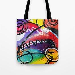 I Feel Fine - Whirly Swirls Splashy Aqua Turquoise Blue Red Yellow  Fine Art Abstract Painting Tote Bag