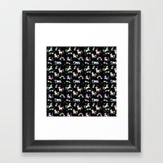 Unicorns and Rainbows - black -tiny Framed Art Print
