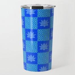 Retro Blue Lotus Checkerboard Travel Mug