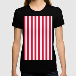 Narrow Vertical Stripes - White and Crimson Red T-shirt