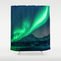 northern lights Shower Curtains featuring Aurora Borealis (Northern Lights) by StayWild