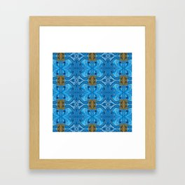 Acrylic Pour Pattern (Blue Gold) Framed Art Print