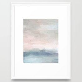Blush Pink Mint Sky Baby Blue Abstract Ocean Sky Sunrise Wall Art, Water Clouds Painting Framed Art Print