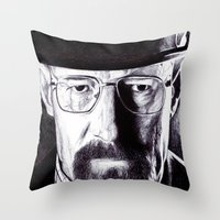 heisenberg Throw Pillows featuring Heisenberg  by DeMoose_Art