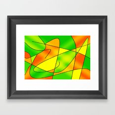 ABSTRACT CURVES #2 (Greens, Oranges & Yellows) Framed Art Print