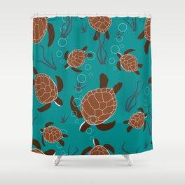Swimming Sea Turtles Shower Curtain