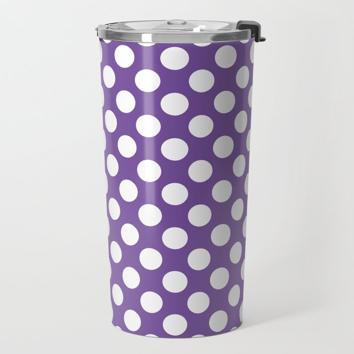 White Polka Dots with Purple Background Travel Mug