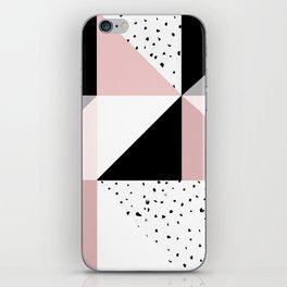 Geometrical pink black gray watercolor polka dots color block iPhone Skin