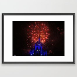 castle in red white and blue Framed Art Print