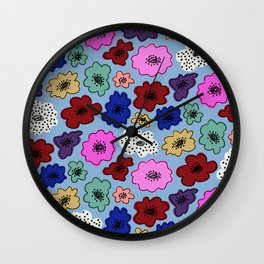 Bright, funky modern floral with spots on powder blue Wall Clock