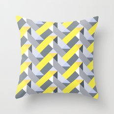 Herringbone geometric yellow Throw Pillow