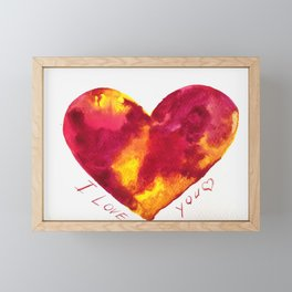 Valentine's Day gift card, fiery heart, gift for soulmate, love greeting card, romantic red heart Framed Mini Art Print