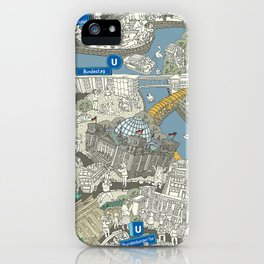 Illustrated map of Berlin-Mitte. Green iPhone Case