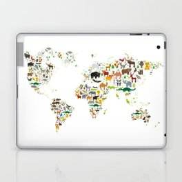 Cartoon animal world map for children and kids, Animals from all over the world on white background Laptop & iPad Skin