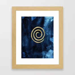 Infinity Navy Blue And Gold Abstract Modern Art Painting Framed Art Print