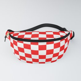 Jumbo Australian Racing Flag Red and White Checked Checkerboard Pattern Fanny Pack