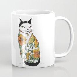 Cat in Tiger Flower Tattoo Coffee Mug