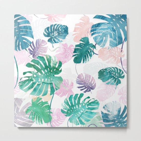 Tropical Leaves Watercolor Metal Print